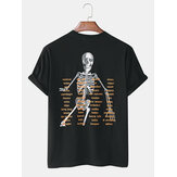Cotton Mens Funny Skeleton Letter Print White Casual Short Sleeve T-Shirts
