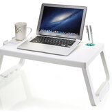 Portable Plastic Foldable Laptop Desk Stand Lapdesk Computer Notebook Multi-Functional Bed Sofa Breakfast Tray Table Office Serving Table with Tablet&Pen Slots/Cup Holder