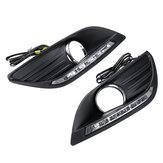 2Pcs Car LED DRL Daytime Running Lights Turn Signal Lamps With Wiring Harness For Ford Focus 2008-2013