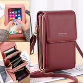 Fashion RFID Large Capacity with Multi-Card Slot Wallet PU Leather Touch Screen Mobile Phone Bag Crossbody Shoulder Packs