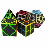 5Pcs Per Caixa Carbon Fiber Magic Cube Pyraminx Dodecahedron Axis Cube 2x2 e 3x3 Cube Speed ​​Puzzle