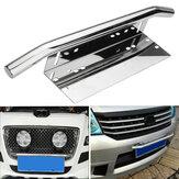 Suporte de montagem de luz de aço inoxidável de carro universal Suporte de placa de matrícula Bull Bar Holder Silver