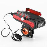 BIKIGHT 4-en-1 4000mAh 550LM Luz de bicicleta USB Banco de energía recargable Soporte de teléfono impermeable Faro con bocina de bicicleta
