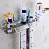 BR-32 Bathroom Wall Mount Hanging Storage Rack with Hair Towel Holder and Toothbrush Shelves