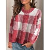 Camisolas femininas com estampa xadrez de malha O-pescoço de manga comprida Plus tamanho