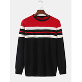 Mens Horizontal Stripe Knit Round Neck Casual Long Sleeve Pullover Sweaters