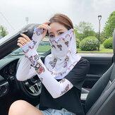 Mulheres Protetor Solar de Duas Peças Ao Ar Livre UV Proteção Manga de Seda Gelo Manga de Guarda de Braço Capa de Manga Rosto Véu Respirável Máscara