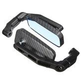 Universal Motorrad Fahrrad Rechteck Rückspiegel 8mm 10mm Black Carbon