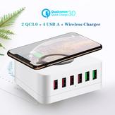 Carregador USB de 6 portas Bakeey 72W QC3.0 Carga rápida Estação de carregamento de mesa 10W Carregador sem fio para iPhone 11 SE 2020 para iPad Pro 2020 para Samsung Huawei