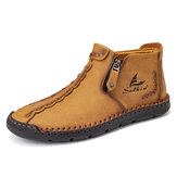 Men Microfiber Leather Hand Stitching Side Zipper Ankle Boots