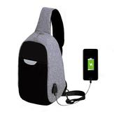 Hombres Sling multifunción de carga USB externo Bolsa Repelente de agua Anti Robo Bolsa para Ipad