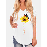 Casual Loose Butterfly Sunflower Print V-neck Irregular Hem T-shirts