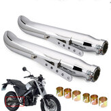 2X Universal Motorcycle Exhaust Muffler Pipe Tip Retro Vintage Rear Pipe Tube Exhause For Bobbers