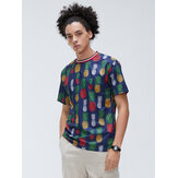 Mens Abacaxi Floral Impressão Digital Youth Casual Loose Short Sleeved T-Shirts