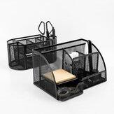 Porta-canetas multifuncionais de metal Guangbo 7/9 Grids Simples e bonito para suprimentos de mesa de escritório escolar de