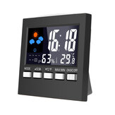 Loskii DC-001 Digital Suhu Kelembaban Jam Alarm LCD Weather Station Display Clock