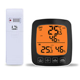 Loskii-CJ6605RFTH Large Screen Digital Indoor Outdoor Thermometer Hygrometer Temperature Humidity Table Alarm Clock