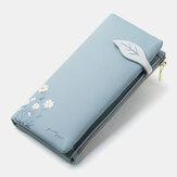 Women 13 Card Slots Bifold Flower Printed Long Wallet Clutches Bag