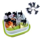 6 Unids Mini Animal Fork Selecciones de Frutas Lindo de Dibujos Animados Negro Gato Niños Fork Toothpick Bento Lunch Caja Accesorios de Decoración