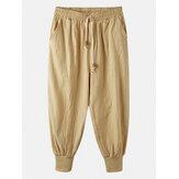 Mens Cotton Solid Color Elastic Ankle Drawstring Harem Pants