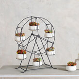 Succulent Planter Ferris Wheel Iron Plant Holders Set Indoor Garden Pots