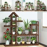 2/3/4 Tier Plant Pot Holder Outdoor / Indoor Bamboo Flower Organizer Display Rack Garden Yard