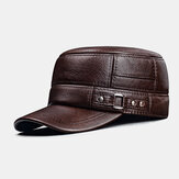 Men Genuine Leather Winter Keep Warm Ear Protection Solid Color Flat Hat Peaked Hat Baseball Hat