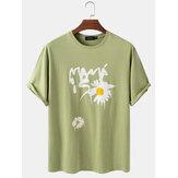 メンズコットンデイジーパターンプリントソリッドカラールーズライトOネックTシャツ