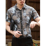 メンズ透かし彫り花刺繍半袖シャツ