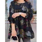Винтажная блузка с круглым вырезом и длинными рукавами с объемными рукавами и плиссировкой для Женское