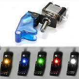 Car SPST Toggle Rocker Switch Control LED Indicator Light 12V 20A On Off Switch with Cover