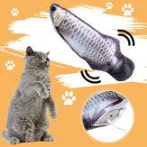 12 inch USB Kwispelende Kat Elektrische Vis beweging Kattenkruid Pluche Simulatie Vis Kat Speelgoed