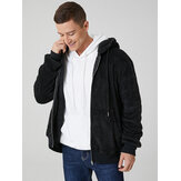 Mens Black Plush Warm Long Sleeve Pocket Teddy Hooded Jacket
