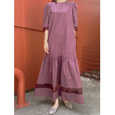 Puff Sleeve Patchwork O-neck Side Pocket Half Sleeve Holiday Solid Maxi Dress