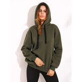 Casual Women Drawstring Long Sleeve Zipper Hem Hoodies