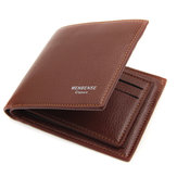 Faux Leather Trifold Short Wallet Card Holder For Men