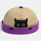 Banggood Design Men Cotton Contrast Color Cute Kitty Cat Pattern Casual Brimless Landlord Cap Skull Cap Beanie Hat