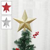 Noel Ağacı Üst Sparkle Yıldız Işıltılı Asılı Noel Ağacı Topper Dekorasyon Süsler Ev Dekorasyonu