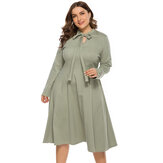 Plus Size Spring Casual Bandage Long Sleeve Causal Dress