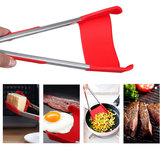 Honana Espátula dobrável da cozinha do BBQ 2-In-1 e quadro de aço inoxidável antiaderente do Tong do BBQ