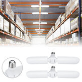 2PCS E27 56*2 LED Garage Light Bulb 2 Blades Foldable Mining Warehouse Ceiling Fan Lamp AC165-265V