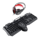 4-in-1 Gaming Kit Set LED Gaming Over-Ear Headset Keyboard & Mouse & Mouse Pad Combo Set