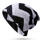 Stripe Slouchy Beanie Cap Scarf Outdoor Print Double Layers Cotton Turban Hat