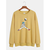 Funny Cartoon Astronaut Print Mens Cotton Drop Shoulder Long Sleeve Casual Sweatshirts