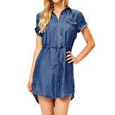 Women Button Denim Irregular Shirt Dress