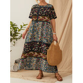 Bohemia Vintage Floral Printed Short Sleeve Button Maxi Dress with Pockets