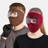 Unisex Fleece Windproof Warm Eye Face Ear Protection HD Goggles Mask For Outdoor Riding