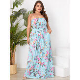 Plus Size Floral Bolsos Laterais Tubo Top sem mangas Holiday Maxi Dress