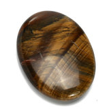 Tiger's Eye Carved Palm Worry Stone Gua Sha Healing Crystal