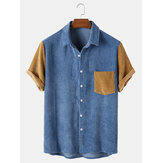 Mens Corduroy Patchwork Turn Down Collar Kortärmade skjortor